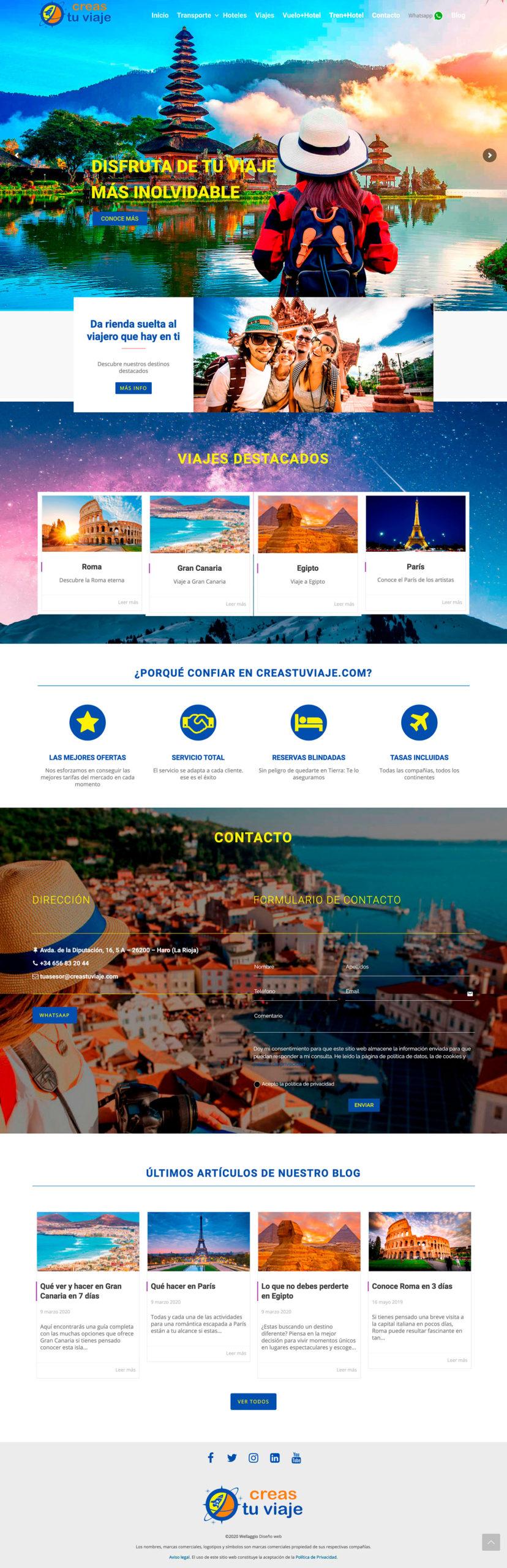 Diseño web Valencia | Diseño página web Creas tu Viaje