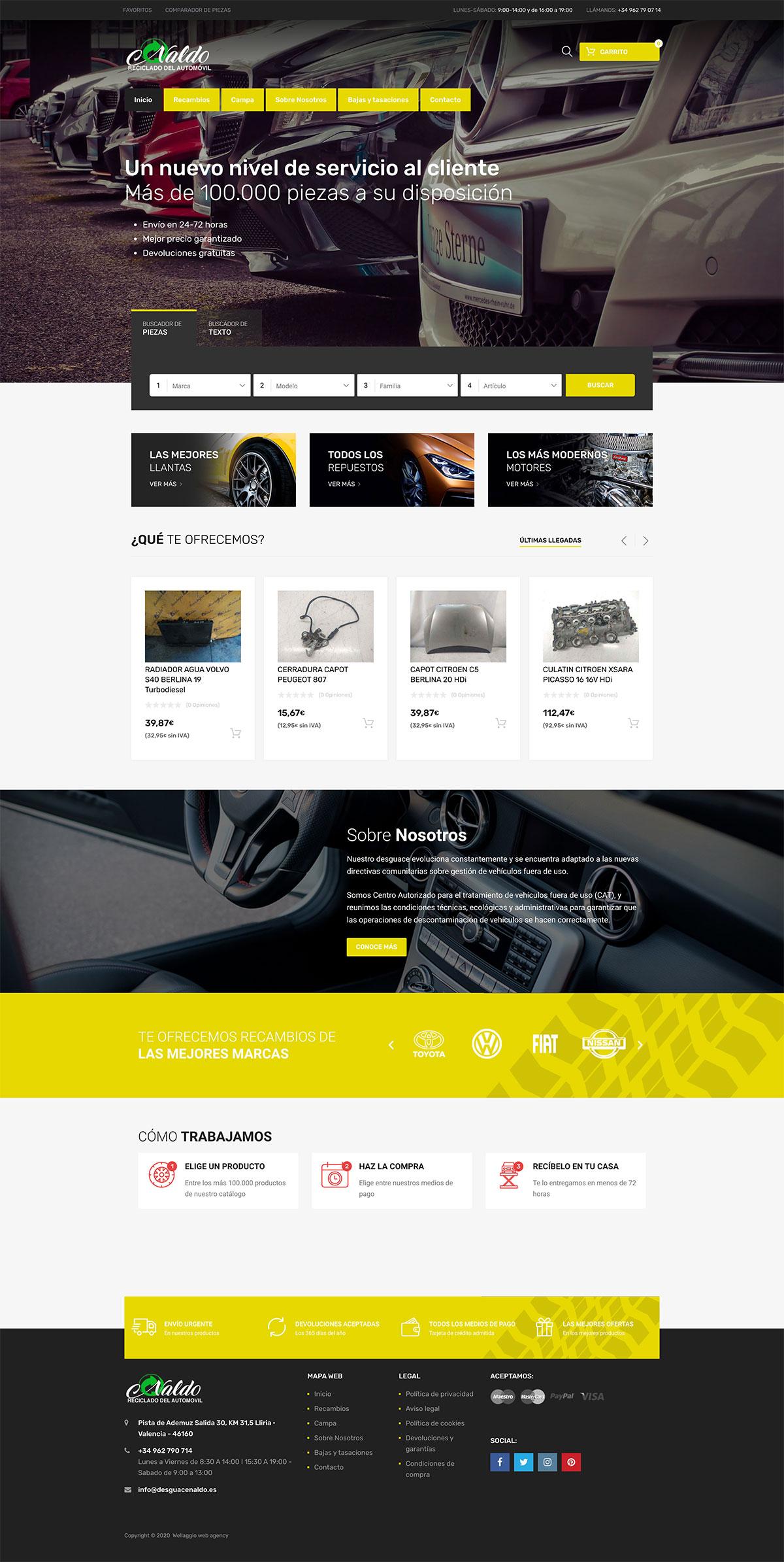 Diseño web Valencia Wellaggio | Desguace Naldo