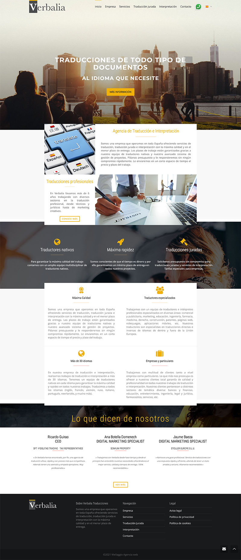 Wellaggio diseño web   Diseño web academia de traduciones Verbalia